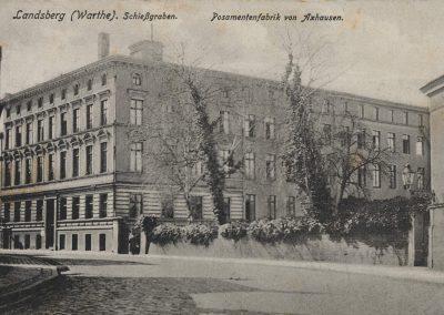 AK_Landsbaerg (Warthe)-Schießgraben-Posamentenfabrik-von-Axhausen