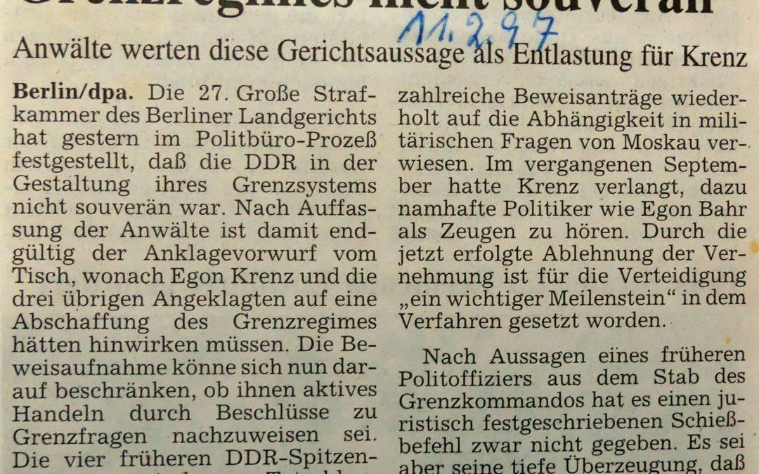 DDR-Spitze war in Fragen des Grenzregimes nicht souverän