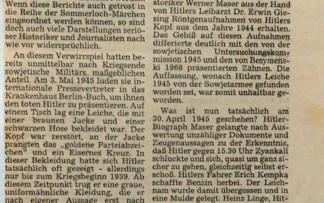 Wo Ist Hitlers Leiche
