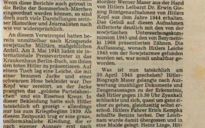 Hitlers Leiche ist nie gefunden worden