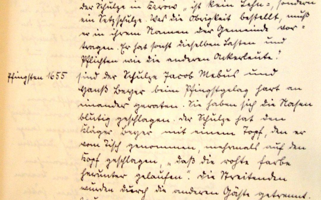 Gerichtstag 1656 in Karow und blutige Nasen zu Pfingsten 1655