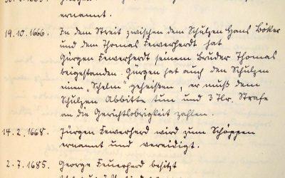 Gerichtstage in Karow zwischen 1658 und 1685