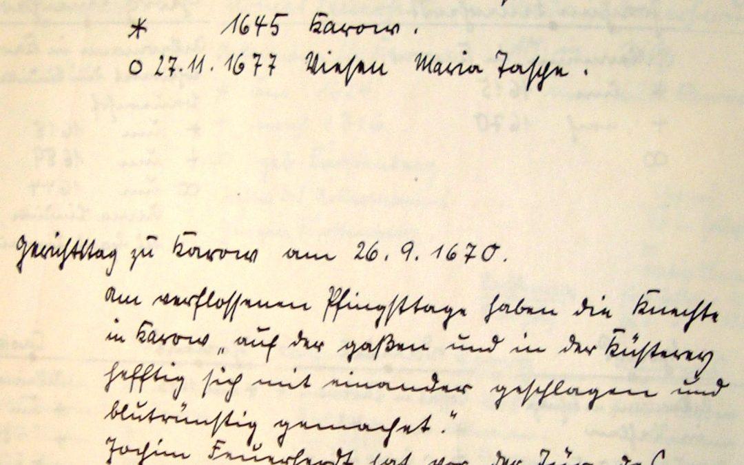 Blutrünstige Pfingsten 1670 in Karow