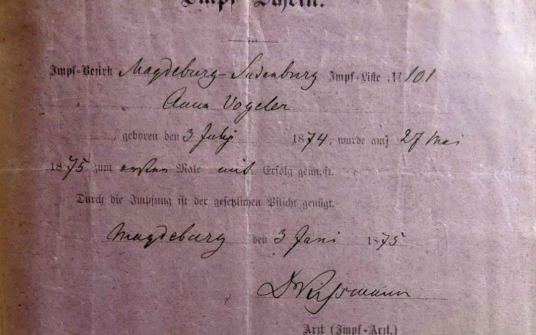 Pflichtimpfungen der Anna Vogeler gemäß Reichsimpfgesetz vom 8. April 1874