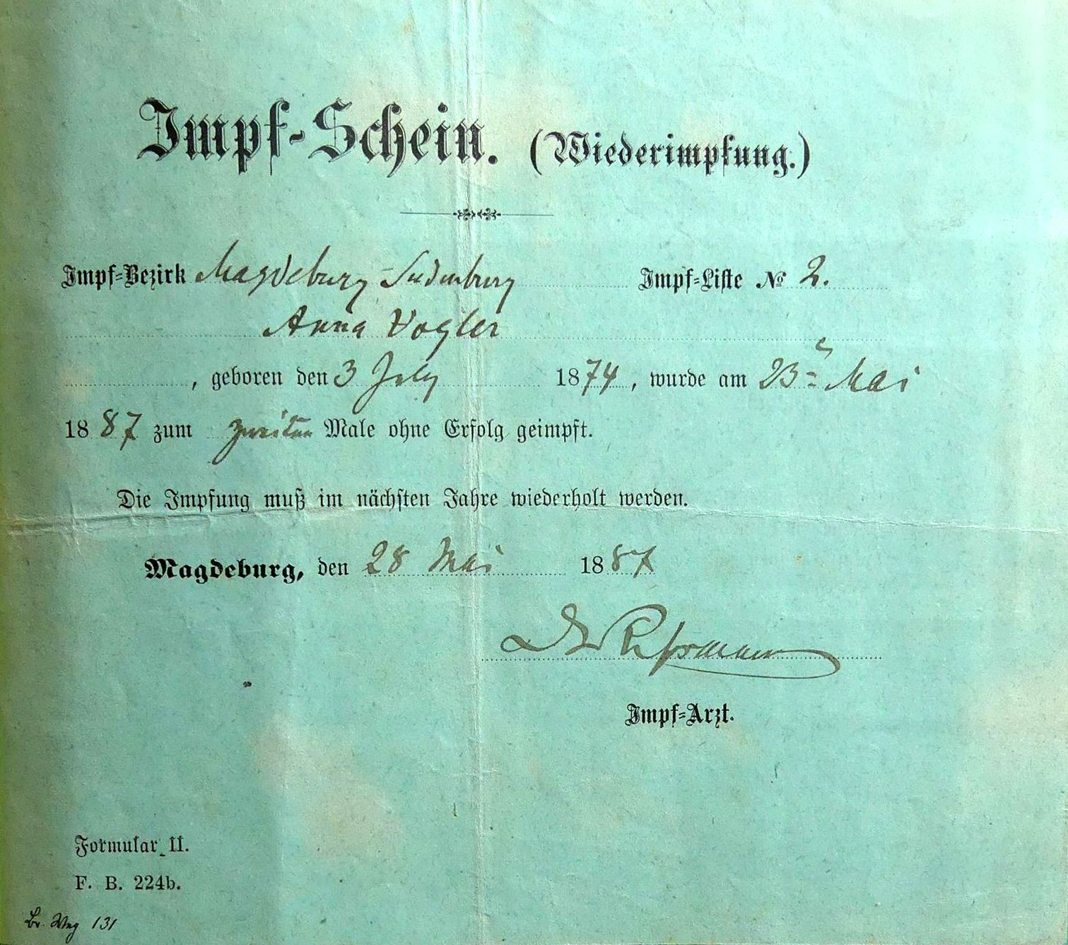 Impfung 1887