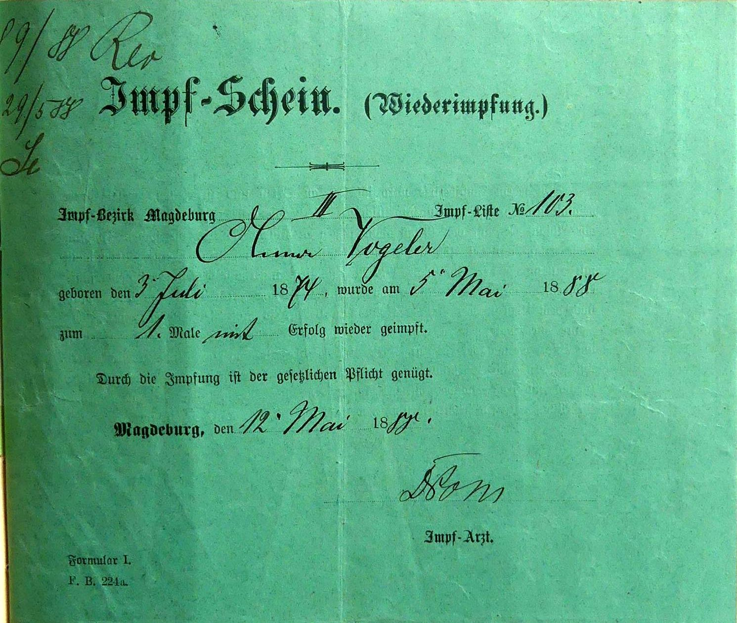 Impfung 1888